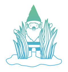 gnome coming out of the bushes in degraded green vector image