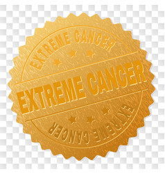 Gold extreme cancer medal stamp vector