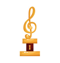 gold treble clef music award statuette cartoon vector image