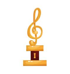 Gold treble clef music award statuette cartoon vector