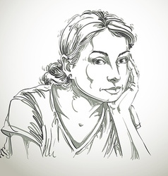 Graphic hand-drawn of white skin sorrowful a vector
