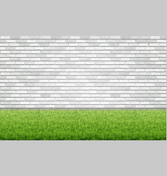 grass lawn and white brick wall vector image