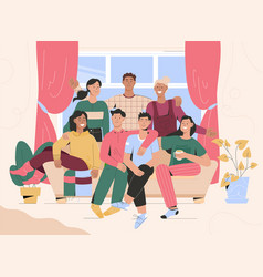 group portrait friends meeting at home vector image