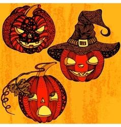 Halloween set pumpkin vector image
