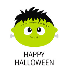 Happy halloween frankenstein zombie monster round vector