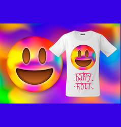 happy holi colorful smiley emoticon emoji face vector image