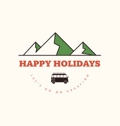 happy holiday on beach flat design vector image