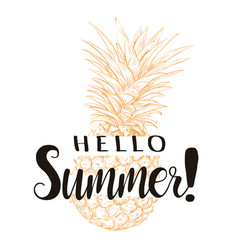 Hello summer pineapple silhouette vector