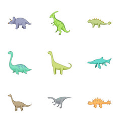 Herbivorous dinosaurs icons set cartoon style vector