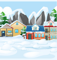 Houses in village covered with snow vector