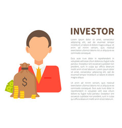 Investor info banner with man in suit and money vector