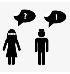 Islamic man and woman talks with speak bubbles vector