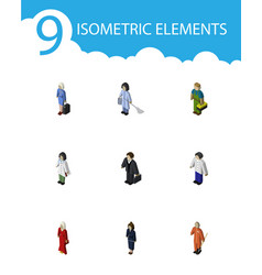 Isometric person set of investor male female and vector