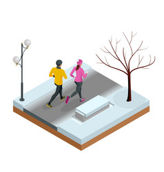 isometric young woman and man runners running on a vector image