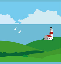 landscape with sea a lighthouse and yachts vector image