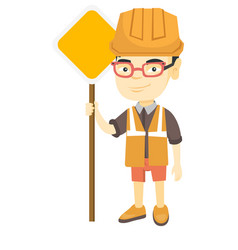 Little asian builder boy holding road sign vector