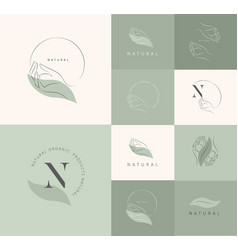 logo design template in trendy linear minimal vector image