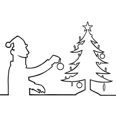 Man decorating christmas tree vector image