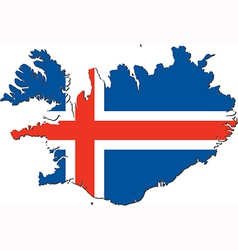 map iceland with national flag vector image