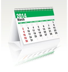 march 2014 desk calendar vector image