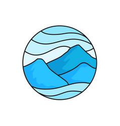 Mountain logo badge high cloudy mountains for vector