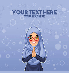 muslim woman greeting with welcoming hands vector image