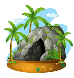 Nature scene with cave and coconut trees vector
