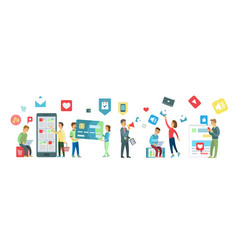 Online shopping people looking at gadgets set vector