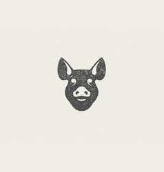 Pig head silhouette for meat industry hand drawn vector