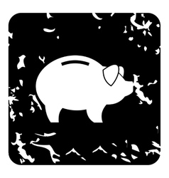 Pig money box icon grunge style vector