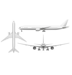 Realistic airplane aircraft plane view landing on vector