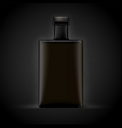 Realistic whiskey bottle isolated on black vector
