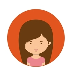 Red sphere of half body woman with straight hair vector