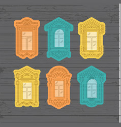 retro window icon window vintage frames vector image