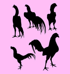 roosters gesture silhouette 02 vector image