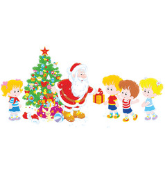 Santa with gifts for children vector