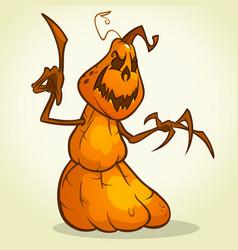scarecrow pumpkin head cartoon vector image