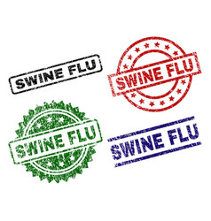 Scratched textured swine flu stamp seals vector