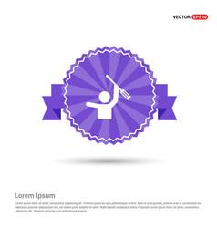 screw driver icon in hand icon - purple ribbon vector image