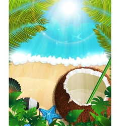 Sea background with palm trees and coconut vector image