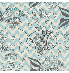 Seamless background with fish pattern vector