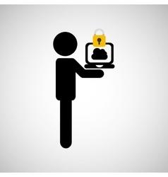 Security laptop cloud man silhouette vector