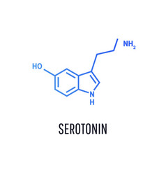 serotonin hormone structural chemical formula vector image