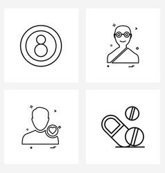 Set 4 simple line icons ball avtar pool vector