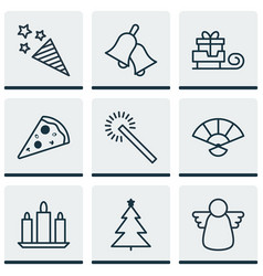 Set 9 celebration icons includes sliced pizza vector