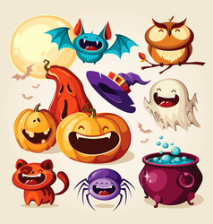 set halloween cartoon elements vector image