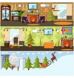 Set of banners with christmas home vector