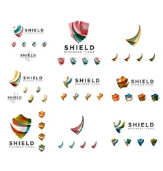 Set of company logotype branding designs shield vector image vector image
