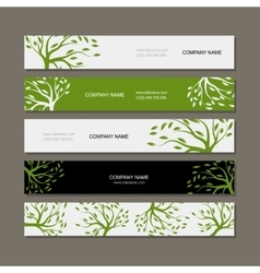 Set of horizontal banners with green tree vector