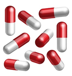 Set of medical capsules in different positions vector image